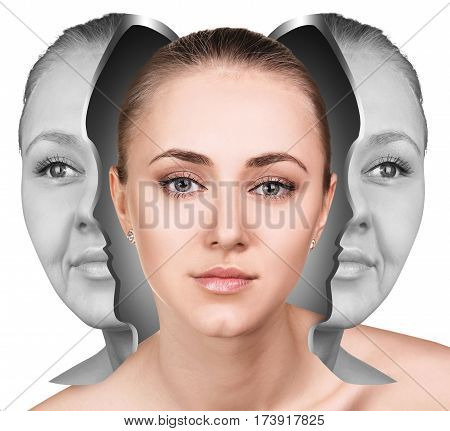 Female face before and after facial rejuvenation or plastic surgery. Anti-aging concept.