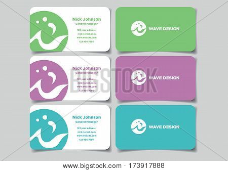 Business name card design with circular company logo. Set of three vector illustration of mock up in front and back view isolated on plain background.