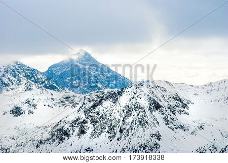 Tatry mountains with snow-covered peaks in Poland.