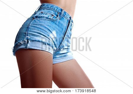 Sexy Woman In Fashion Blue Jeans Shorts. Perfect Hot Booty And Erotic Curves Hips