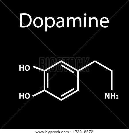 Chemical molecular formula hormone dopamine. The hormone pleasure. Infographics. Vector illustration