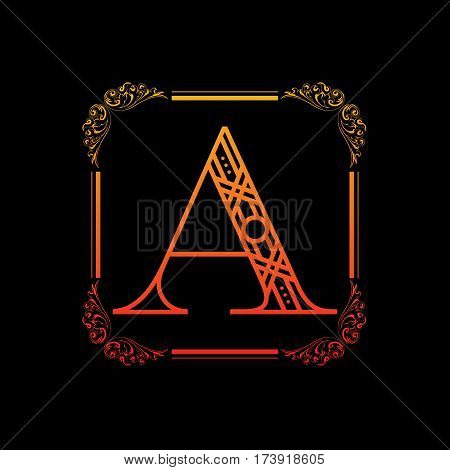 Decorative letter A with abstract frame isolated on black background