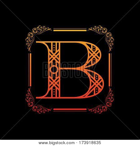 Letter B with decoration and floral frame isolated on black background