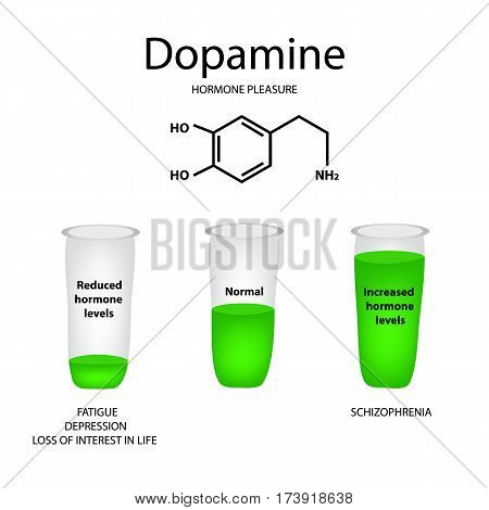 Chemical molecular formula hormone dopamine. The hormone pleasure. Lowering and raising of dopamine. Infographics. Vector illustration