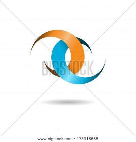 Abstract two color logo with shadow isolated on white background