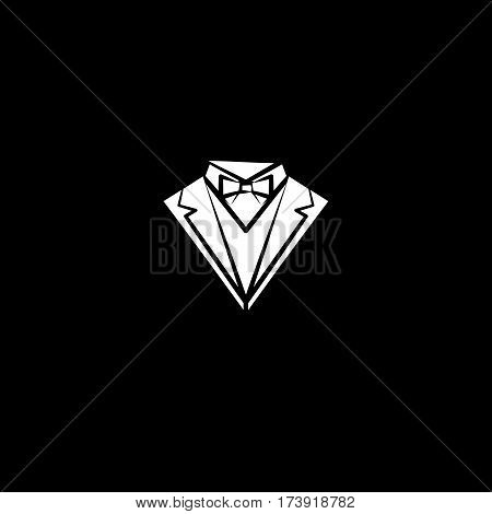 White suit silhouette isolated on black background