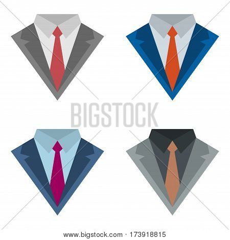Set of four suits with ties different colors