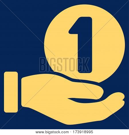 One Coin Payment Hand vector pictogram. Illustration style is a flat iconic yellow symbol on blue background.