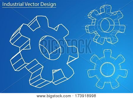 Design and manufacture of gears. Wire-frame style. Perspective Blueprint. 3D Rendering Vector Illustration. EPS10 format