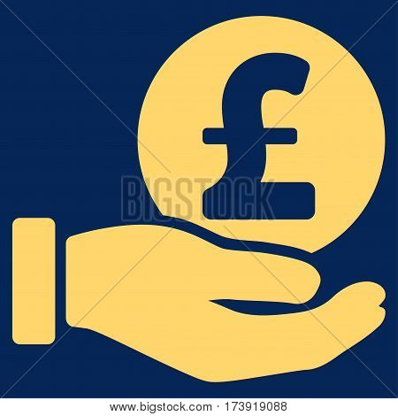 Pound Coin Payment Hand vector pictograph. Illustration style is a flat iconic yellow symbol on blue background.