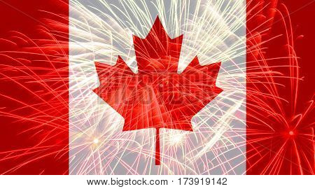Canada flag against fireworks. Abstract flag background