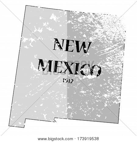 New Mexico State And Date Map Grunged