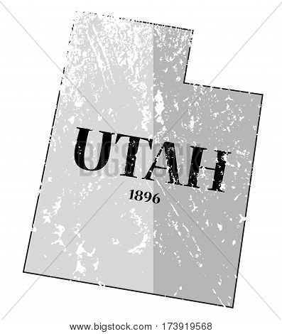 Utah State And Date Map Grunged