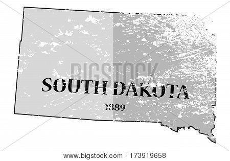 South Dakota State And Date Map Grunged