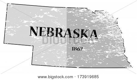 Nebraska State And Date Map Grunged