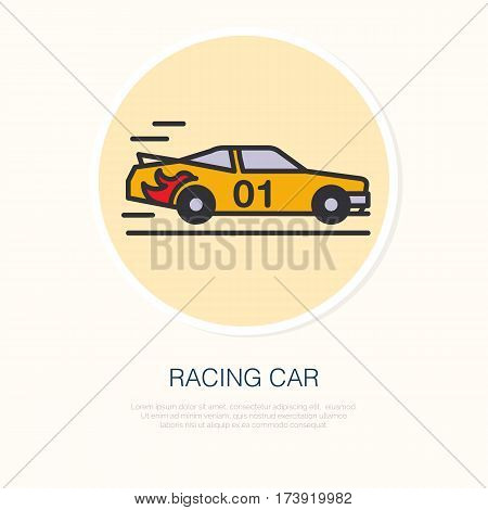 Racing sport car vector line icon. Speed automobile logo, driving lessons sign. Automo championship illustration.