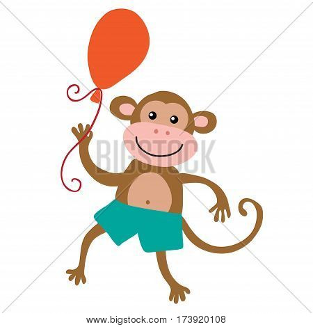 Cute cartoon monkey isolated on white background