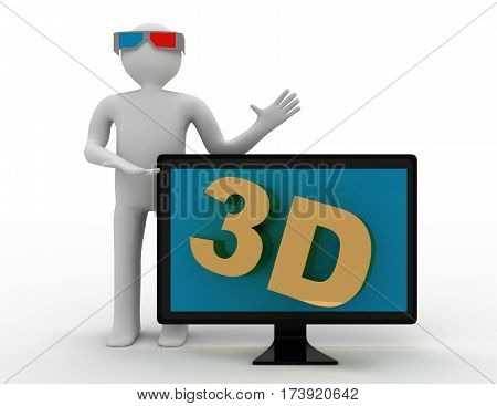 3D Man And Tv. 3D Hd Tv Concept