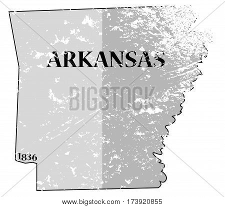 Arkansas State And Date Map Grunged