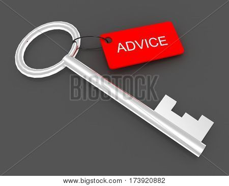 3d key with label advice. rendered illustration