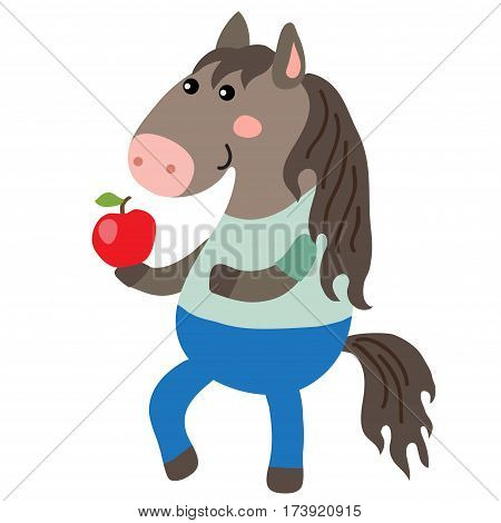 Cute cartoon horse isolated on white background