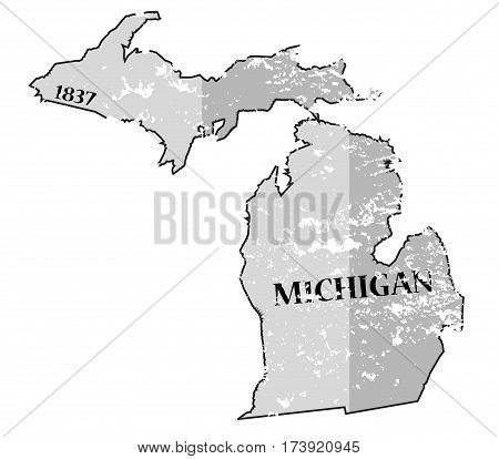 Michigan State And Date Map Grunged