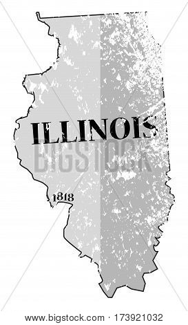 Illinois State And Date Map Grunged