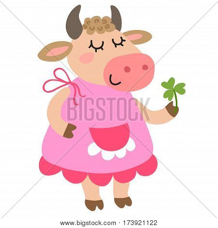Cute cartoon cow isolated on white background