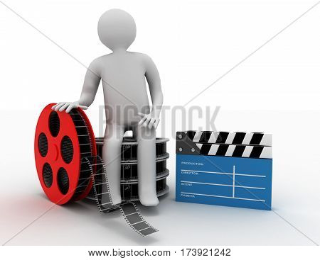3D White People. Film Director With Clapperboard And Film Reels. Isolated White Background.