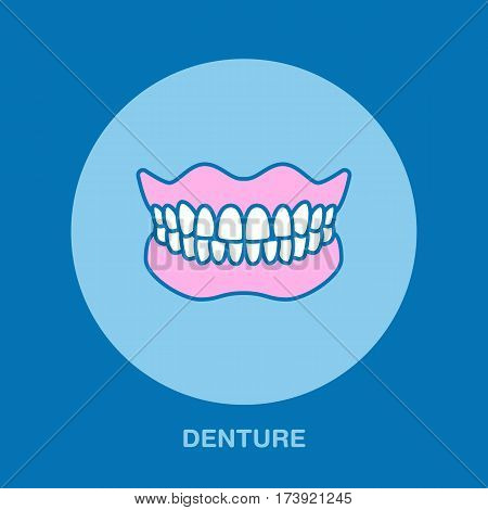 Dentist, orthodontics line icon. Dental prosthesis, tooth orthopedics sign, medical elements. Health care thin linear dentures symbol for dentistry clinic.