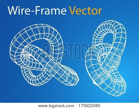 Technology concept. Torus in wire-frame style. Perspective Blueprint. 3D Rendering Vector Illustration. EPS10 format