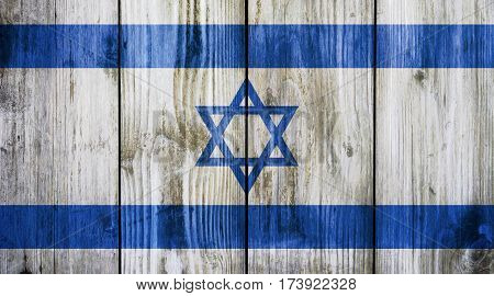 Israel flag on wood texture background. Abstract Flag background.