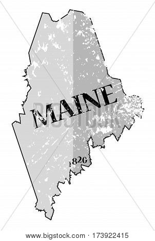 Maine State And Date Map Grunged