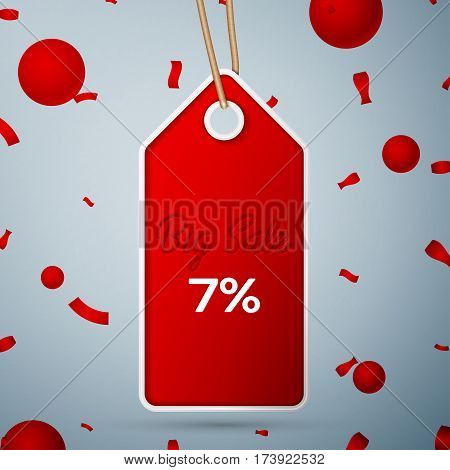 Red pennant with an inscription Big Sale seven percent Discounts over a grey background and confetti. Sale concept for shops store market, web and other commerce. Vector illustration.