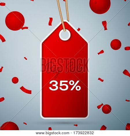 Red pennant with an inscription Big Sale thirty five percent Discounts over a grey background and confetti. Sale concept for shops store market, web and other commerce. Vector illustration.