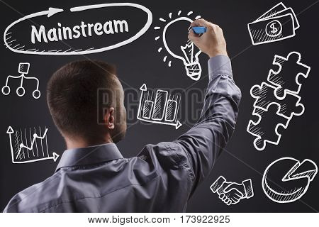 Technology, Internet, Business And Marketing. Young Business Man Writing Word: Mainstream