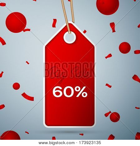 Red pennant with an inscription Big Sale sixty percent Discounts over a grey background and confetti. Sale concept for shops store market, web and other commerce. Vector illustration.