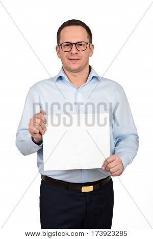 Portrait Of Happy Smiling Young Businessman In Glasses Showing Blank Signboard, With Copyspace Area