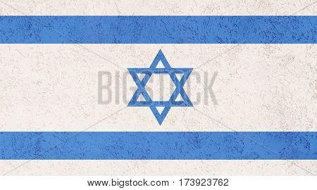 Israeli flag plaster wall. Abstract Flag background.