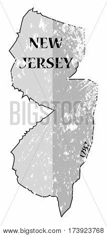 New Jersey State And Date Map Grunged