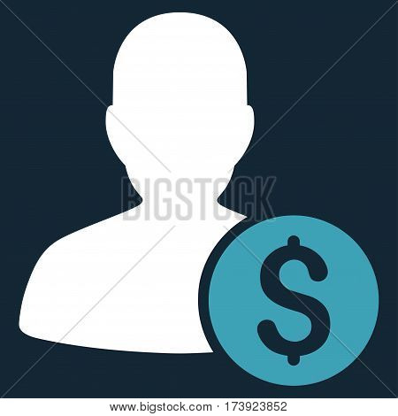 Investor vector icon. Illustration style is a flat iconic bicolor blue and white symbol on dark blue background.