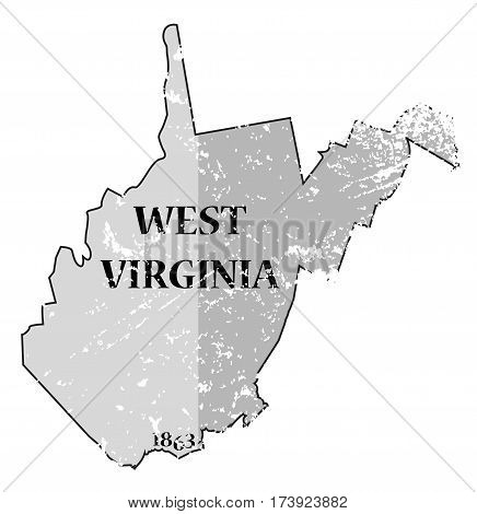 West Virginia State And Date Map Grunged