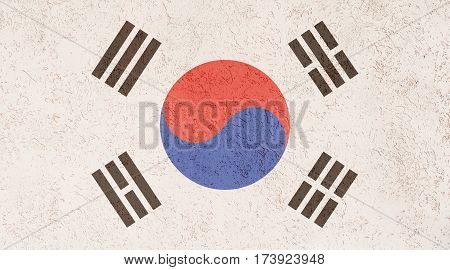 South Korean flag plaster wall. Abstract Flag background.