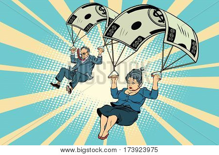 Golden parachute financial compensation in the business. Businessman and businesswoman jumping down. Comic book vintage pop art retro style illustration vector