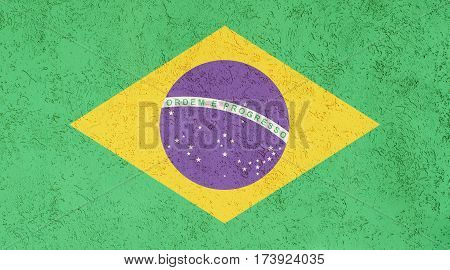 Brazilian flag plaster wall. Abstract Flag background.