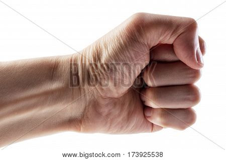 Male clenched fist, isolated on a white background with clipping path. Left hand.