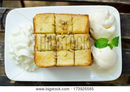 French Toast on the Wood Background.French Toast is a Most Favorite Dessert .