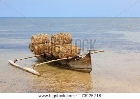 Typical Malagasy Fishing Trap On Beach