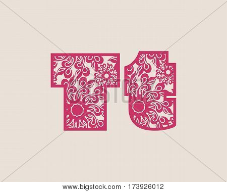 Decorative alphabet vector font. Letter T. Typography for headlines, posters, logos etc. Uppercase and lowercase symbols