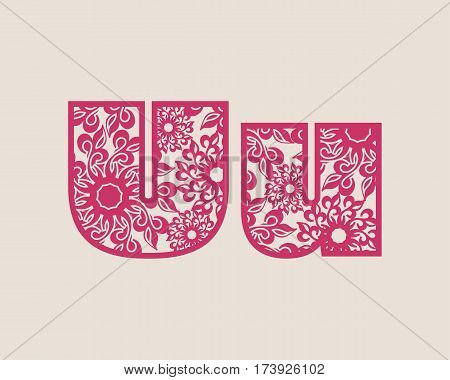 Decorative alphabet vector font. Letter U. Typography for headlines, posters, logos etc. Uppercase and lowercase symbols